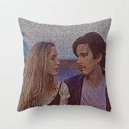 Text Portrait with Full Script of Before Sunrise Throw Pillow