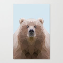 Low poly bear on blue/grey background Canvas Print