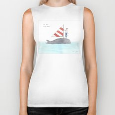 set sail on a whale Biker Tank