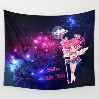 chibi Wall Tapestries featuring Sailor Chibi Chibi Moon by Neo Crystal Tokyo