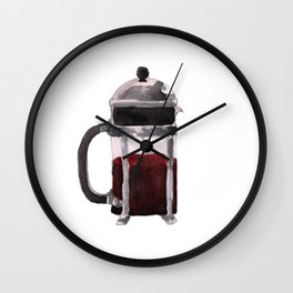French Press - Red Wall Clock