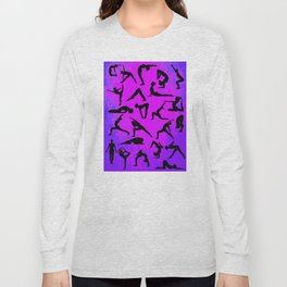 Yoga Poses - pink & purple collage Long Sleeve T-shirt