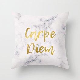 Marble Carpe Diem Gold Throw Pillow