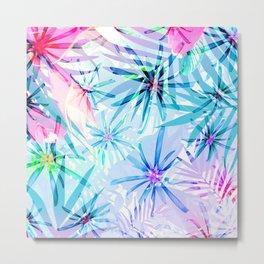 Flashy Colorful Tropical Flowers Design Metal Print