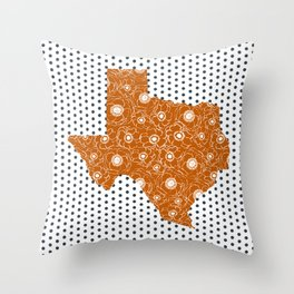Texan texas longhorns orange and white university college football dots Throw Pillow