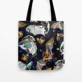 Psychedelic Flying Bats and Moths Pattern Tote Bag