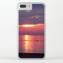 Holes in the Clouds, sunset on the water Clear iPhone Case