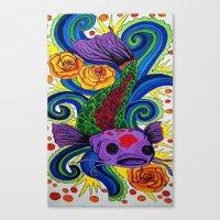 koi fish Canvas Prints featuring Koi Fish by Laurkinn12