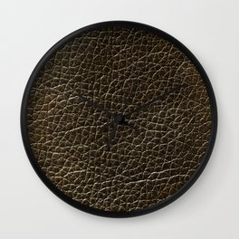 Vintage leather texture background Wall Clock