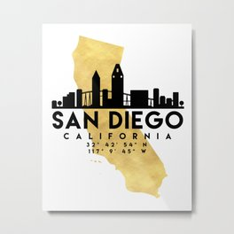 SAN DIEGO CALIFORNIA SILHOUETTE SKYLINE MAP ART Metal Print