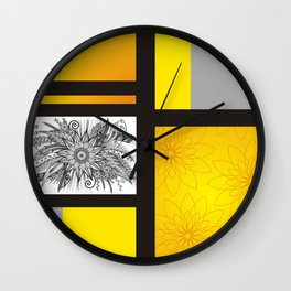 Sunflower Doodle on bright bold background Wall Clock