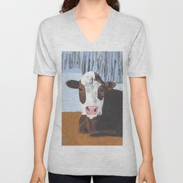 Cow In The Winter Unisex V-Neck