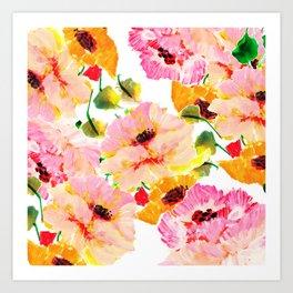 pink orange poppies floral Art Print