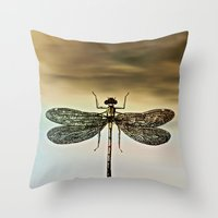 dragonfly Throw Pillows featuring DRAGONFLY  by Pia Schneider [atelier COLOUR-VISION]