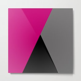 Geometric design in hot pink grey & black Metal Print
