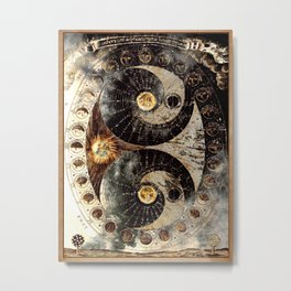 Lunar Phases Celestial Map in Black and Gold Metal Print