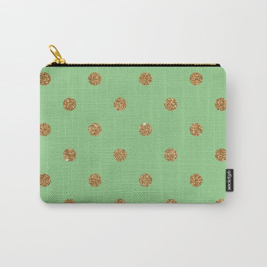Sea Green Gold Glitter Dots Carry-All Pouch