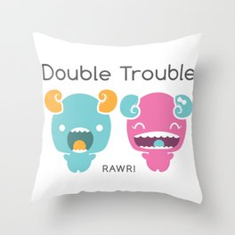 Twin Monsters Throw Pillow