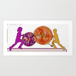 Kids Playing with Industrial Fans Art Print