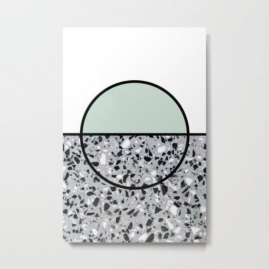 Minimal Modern Terrazzo Pattern Design Mint Green Metal Print