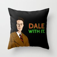 dale cooper Throw Pillows featuring DALE WITH IT. by Chris Piascik