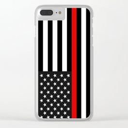 Thin Red Line American Flag Clear iPhone Case