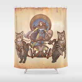 Freya Driving Her Cat Chariot Shower Curtain