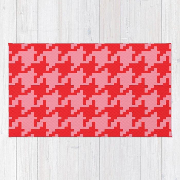 Houndstooth - Pink & Red Rug