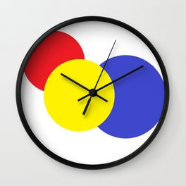 Red Yellow Blue mod circles Wall Clock
