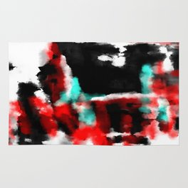 Lukewarm - Abstract, original painting in red, blue, black and white Rug