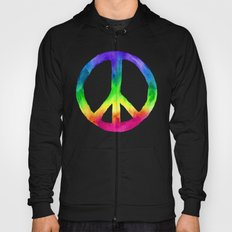 Rainbow Watercolor Peace Sign - Black Background Hoody
