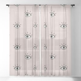 I caught my eye on you (Blush Pink) Sheer Curtain