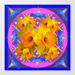 Blue Floral Fuchsia-Pink  Gold Daffodils Pattern Design Canvas Print