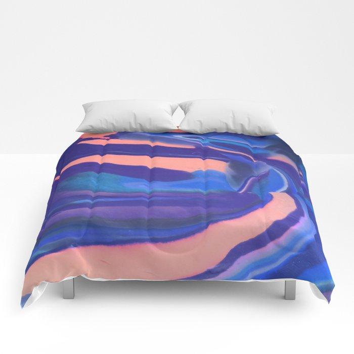 Peachy Blue Marbling Pantone Comforters