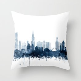 Chicago Skyline Navy Blue Watercolor by Zouzounio Art Throw Pillow