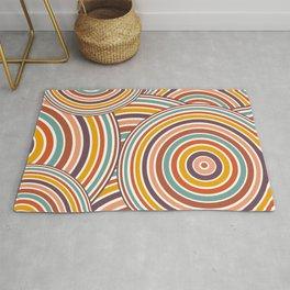 Retro Art, Colourful Prints, Yellow, Pink Teal, Brown , Geometric Art Rug