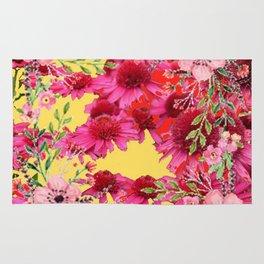 FUCHSIA-PINK FLOWERS YELLOW ART PATTERNS Rug
