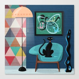 Creature Comforts Mid-Century Interior With Black Cat Canvas Print