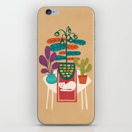 Indoor garden with cat iPhone Skin