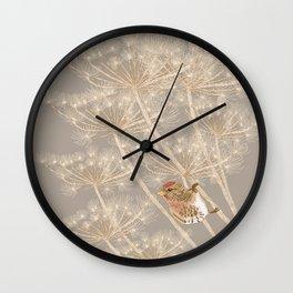Redpoll on Hogweed Wall Clock