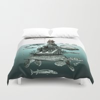 sea turtle Duvet Covers featuring turtle by Кaterina Кalinich