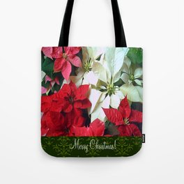 Mixed color Poinsettias 1 Merry Christmas S6F1 Tote Bag