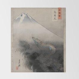 Dragon Rising to the Heavens at Mount Fuji Ogata Gekko Throw Blanket