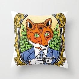 Foxy Gentleman Throw Pillow