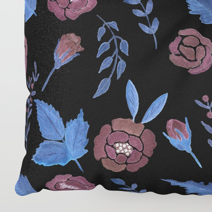 Watercolor floral red roses print on black Floor Pillow
