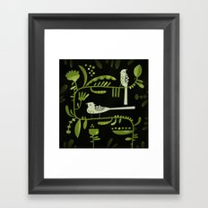 GREEN ON BLACK WITH BIRDS Framed Art Print