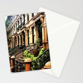 Harlem Brownstones on a summer's day Stationery Cards