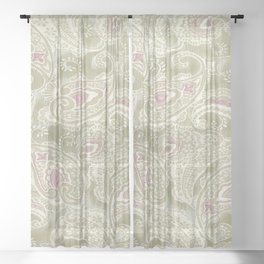 batik paisley warm Sheer Curtain