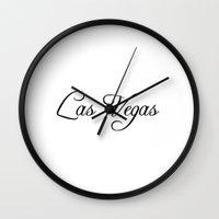 las vegas Wall Clocks featuring Las Vegas. by Blocks & Boroughs