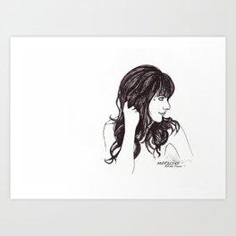 Woman with black hair Art Print